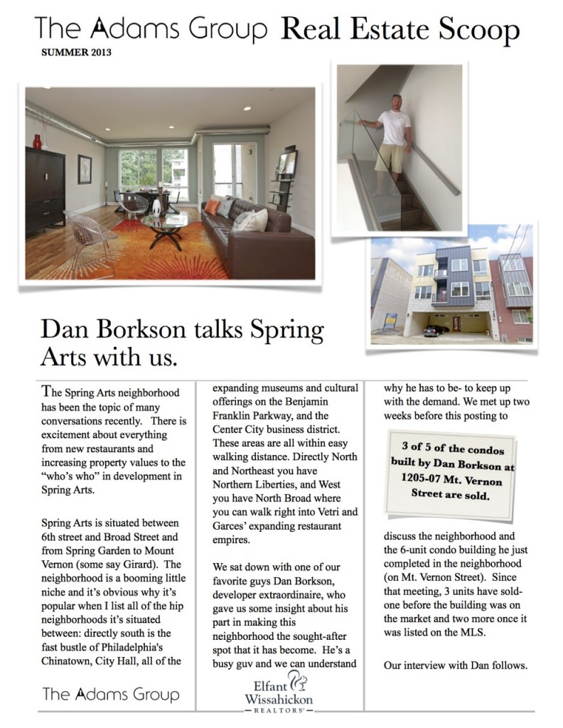 Borkson Properties Spring Arts Article by Adams Group page 1